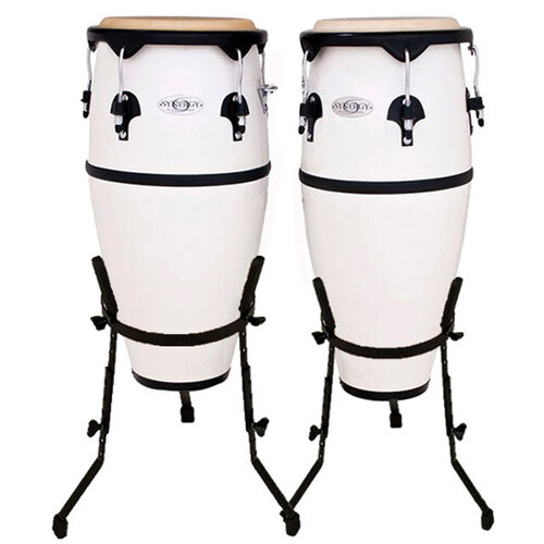 "Toca 10 & 11"" Synergy Series Synthetic Conga Set in White"