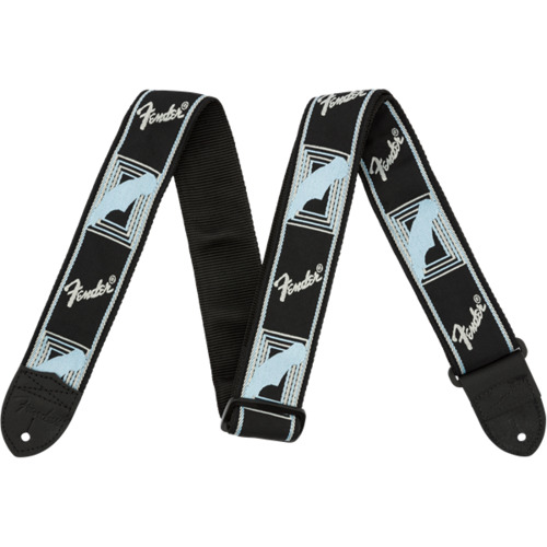 "Fender® 2"" Monogrammed Strap, Black/Light Grey/Blue"