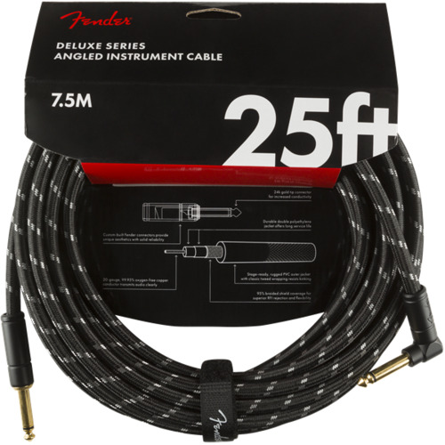 Deluxe Series Instrument Cable, Straight/Angle, 25', Black Tweed