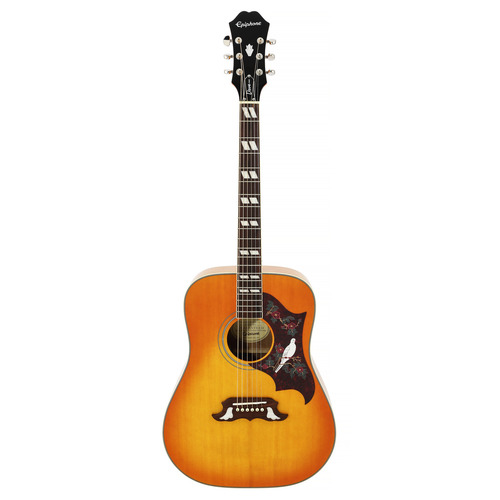 The Epiphone Dove Pro Acoustic/Electric Vintage Brown Sunburst