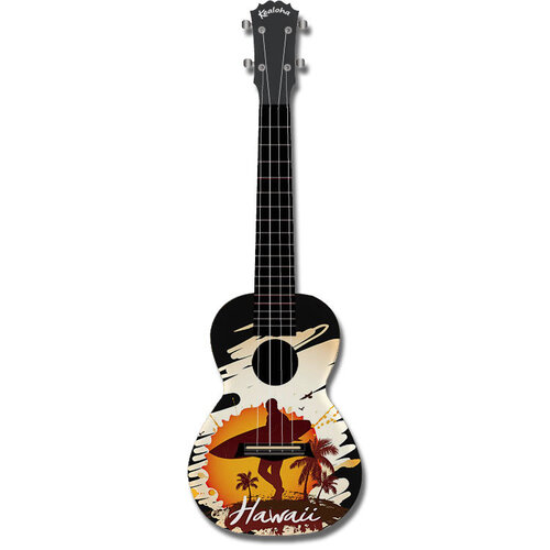 "Kealoha ""Hawaii Surfer"" Design Concert Ukulele with Black ABS Resin Body"
