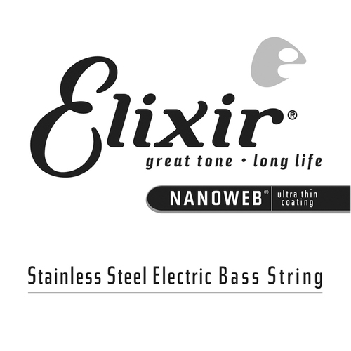 Elixir 13366 Nanoweb Single  Stainless Steel Bass .065