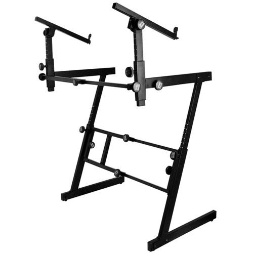 On Stage Pro Heavy Duty Folding Z-Style Multi-Use Stand with 2nd Tier