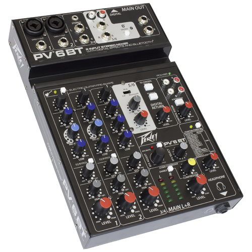 "Peavey PV Series ""PV-6BT"" Compact 6-Channel Mixer with Bluetooth"