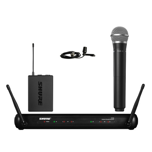 Shure SVX1288/CVL Dual Channel Combo Wireless System - PG58 Handheld & CVL Lavalier