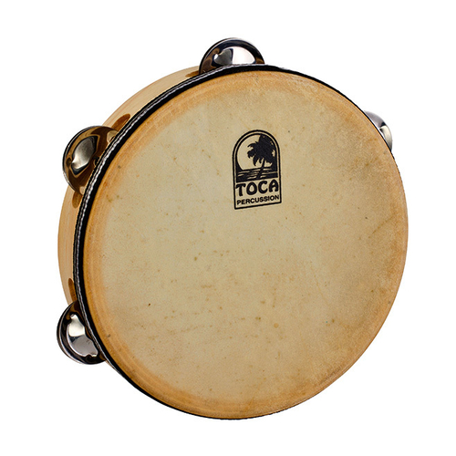 "Toca Players Series Wooden 7-1/2"" Tambourine with Head & Single Row Of Jingles"