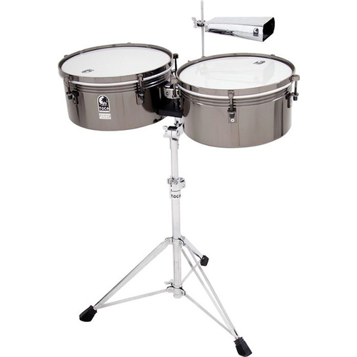 Toca Custom Deluxe Series Timbale Set in Black Chrome