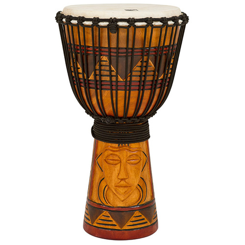 "Toca Origins Series Wooden Djembe 12"" Synthetic Head in Tribal Mask"
