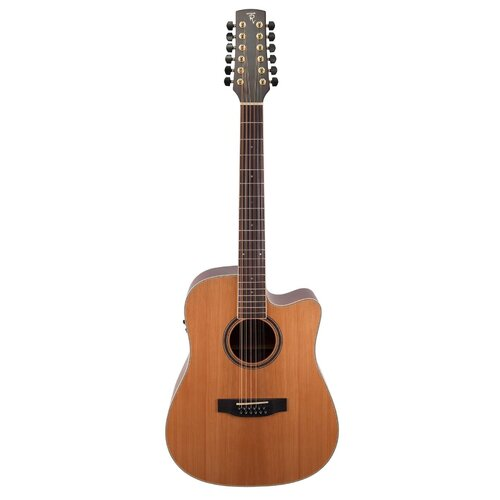 Timberidge '4 Series' 12-String Cedar Solid Top Acoustic-Electric Dreadnought Cutaway Guitar (Natural Satin)